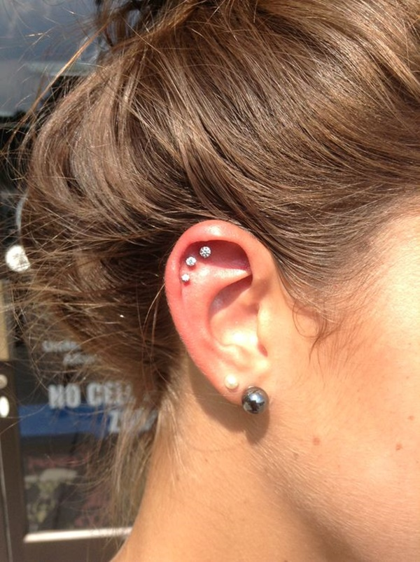 90 Helix Piercing Ideas for Your Trendiest Self Ear Piercings Triple Helix