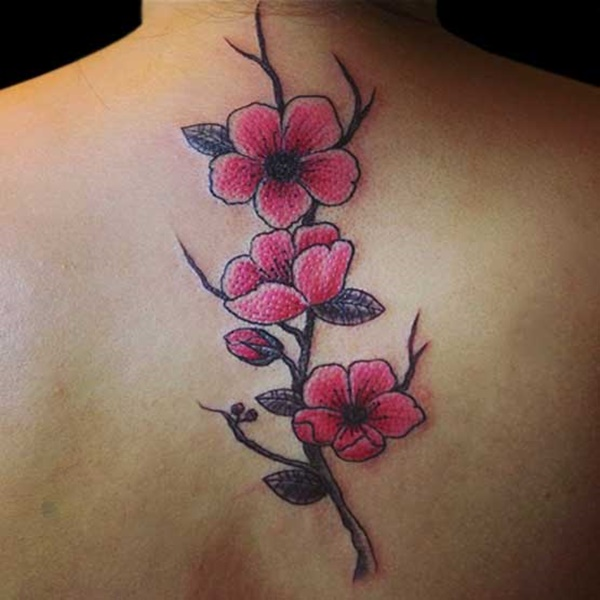 Cherry blossom has spreads on your back and upper back. Their pinky color will brighten the skin by the pink touch. This Japanese flower is right choice for women tattoo. Simple flower and so women looks.