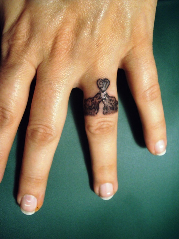 76 of the most inventive wedding band tattoo designs for Wedding ring finger tattoos designs